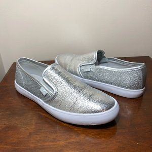 """G by Guess silver metallic """"Malden"""" loafers size 8"""